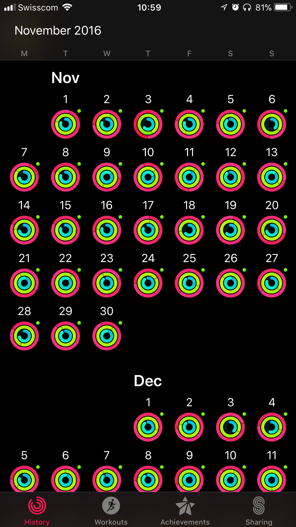 screenshot of the activity app